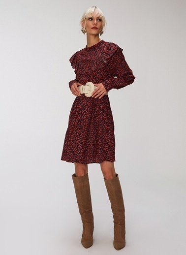 People By Fabrika Volan Detaylı Elbise Bordo